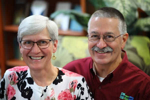 A portrait picture of Jack and Sue Klosheim in the resource center