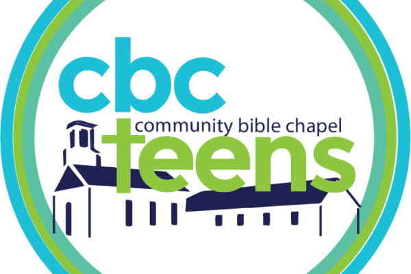 Youth group logo with a picture of church inside a circle